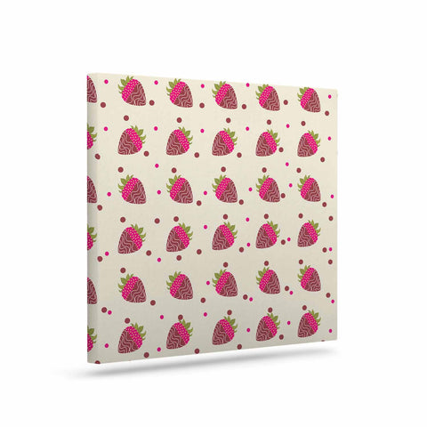 "afe images ""Chocolate Strawberries Pattern"" Red Pink Digital Canvas Art - KESS InHouse  - 1"