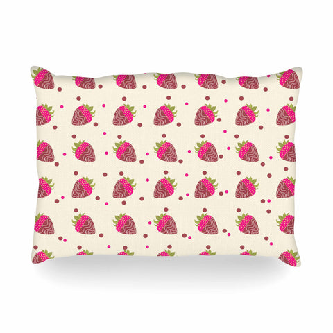 "afe images ""Chocolate Strawberries Pattern"" Red Pink Digital Oblong Pillow"