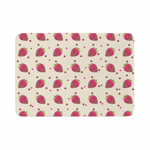 "afe images ""Chocolate Strawberries Pattern"" Red Pink Digital Memory Foam Bath Mat"