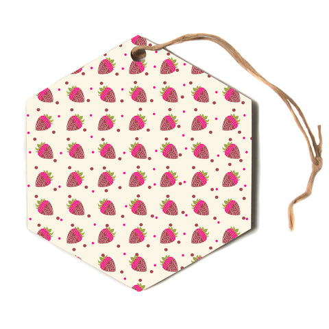 "afe images ""Chocolate Strawberries Pat"" Red Pink Pattern Modern Digital Illustration Hexagon Holiday Ornament"