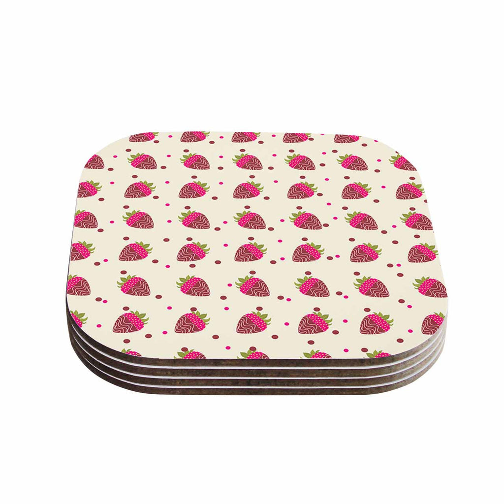 "afe images ""Chocolate Strawberries Pattern"" Red Pink Digital Coasters (Set of 4)"