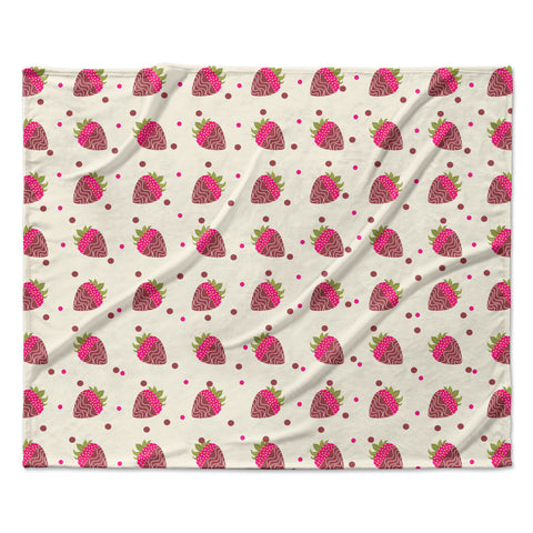 "afe images ""Chocolate Strawberries Pattern"" Red Pink Digital Fleece Throw Blanket"