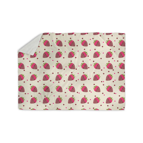 "afe images ""Chocolate Strawberries Pattern"" Red Pink Digital Sherpa Blanket - KESS InHouse"