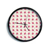 "AFE Images ""Chocolate Strawberries Pat"" Red Pink Pattern Modern Digital Illustration Modern Wall Clock"