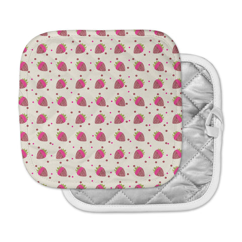 "afe images ""Chocolate Strawberries Pattern"" Red Pink Digital Pot Holder"