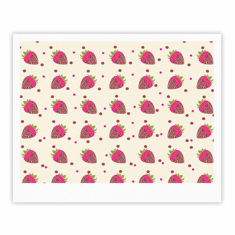 "afe images ""Chocolate Strawberries Pattern"" Red Pink Digital Fine Art Gallery Print"
