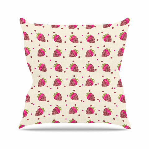 "afe images ""Chocolate Strawberries Pattern"" Red Pink Digital Outdoor Throw Pillow"