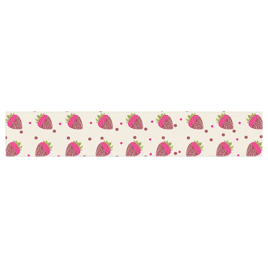 "afe images ""Chocolate Strawberries Pattern"" Red Pink Digital Table Runner"