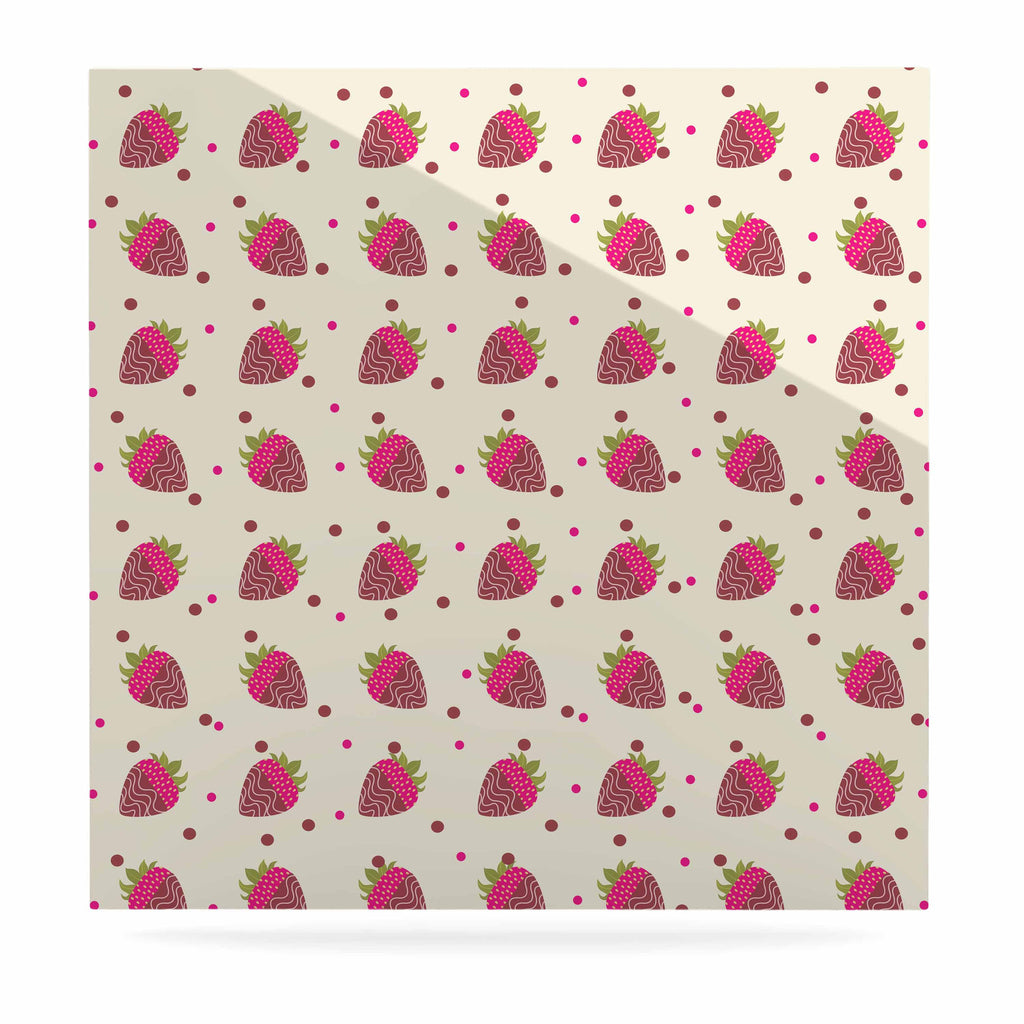 "afe images ""Chocolate Strawberries Pattern"" Red Pink Digital Luxe Square Panel"