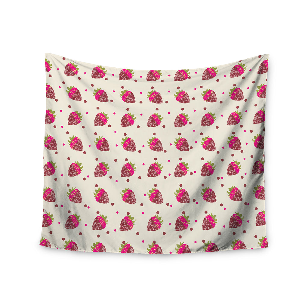 "afe images ""Chocolate Strawberries Pattern"" Red Pink Digital Wall Tapestry - KESS InHouse  - 1"