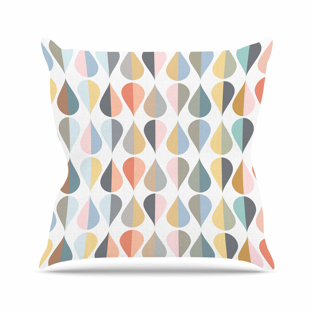 "afe images ""Tear Drops"" Multicolor Illustration Outdoor Throw Pillow"