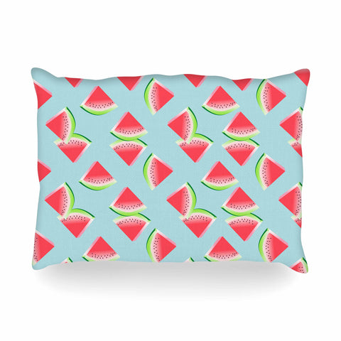 "afe images ""Watermelon Slices Pattern"" Red Blue Illustration Oblong Pillow"