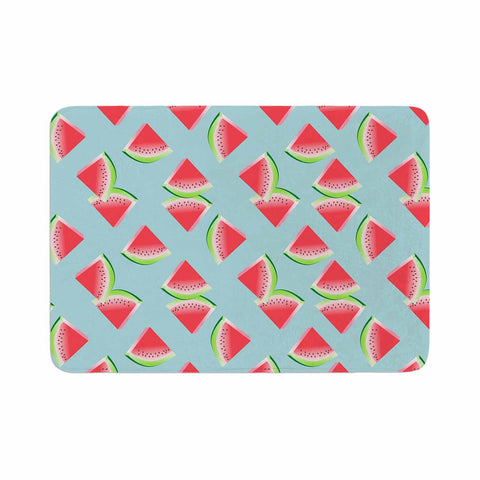 "afe images ""Watermelon Slices Pattern"" Red Blue Illustration Memory Foam Bath Mat"