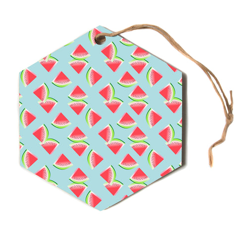 "afe images ""Watermelon Slices Pattern"" Red Blue Pattern Modern Illustration Digital Hexagon Holiday Ornament"