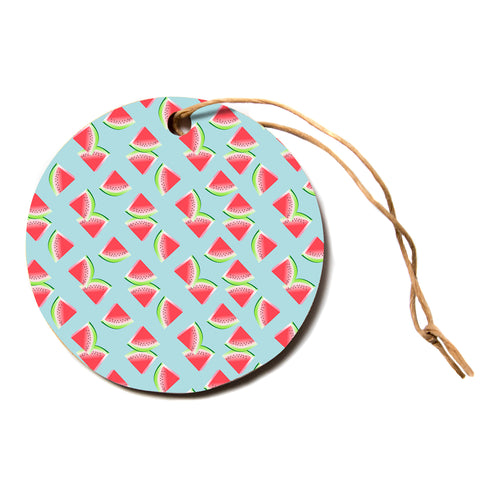 "afe images ""Watermelon Slices Pattern"" Red Blue Pattern Modern Illustration Digital Circle Holiday Ornament"