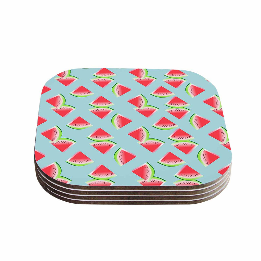 "afe images ""Watermelon Slices Pattern"" Red Blue Illustration Coasters (Set of 4)"