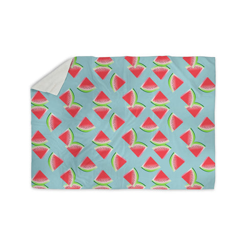 "afe images ""Watermelon Slices Pattern"" Red Blue Illustration Sherpa Blanket - KESS InHouse"