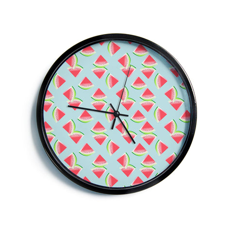 "AFE Images ""Watermelon Slices Pattern"" Red Blue Pattern Modern Illustration Digital Modern Wall Clock"
