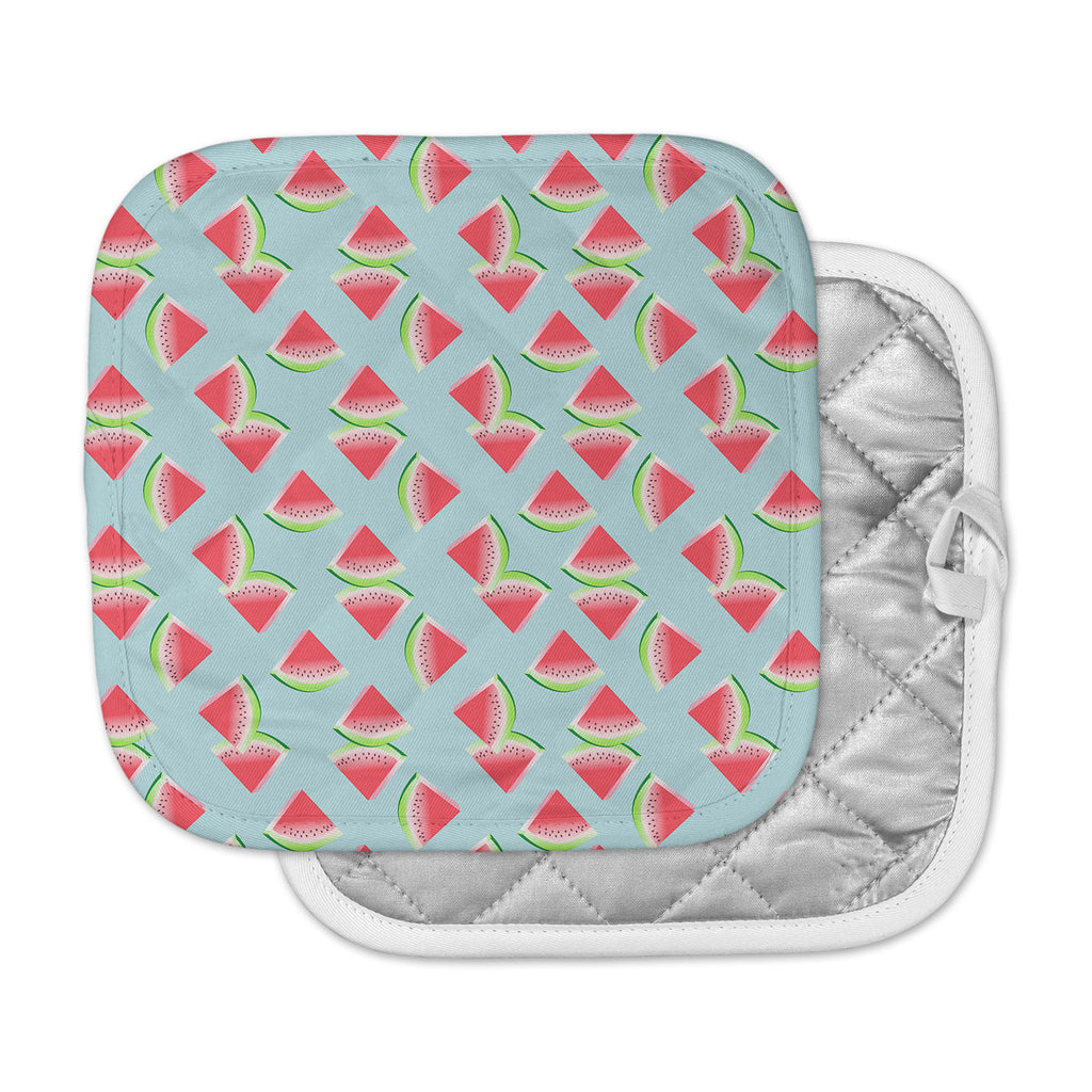 "afe images ""Watermelon Slices Pattern"" Red Blue Illustration Pot Holder"