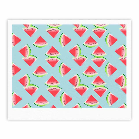 "afe images ""Watermelon Slices Pattern"" Red Blue Illustration Fine Art Gallery Print"