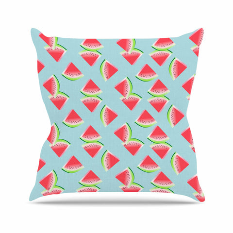 "afe images ""Watermelon Slices Pattern"" Red Blue Illustration Throw Pillow"