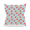 "afe images ""Watermelon Slices Pattern"" Red Blue Illustration Outdoor Throw Pillow"