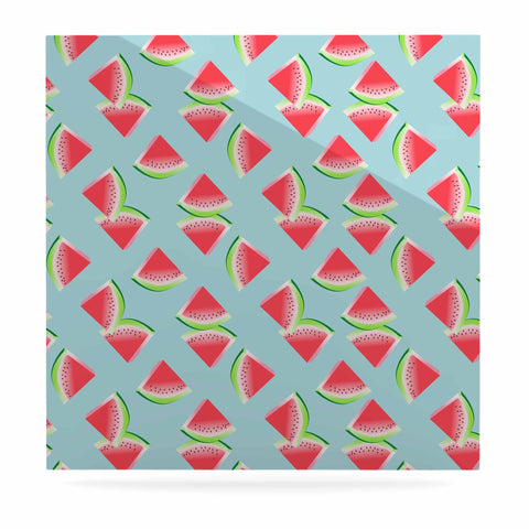 "afe images ""Watermelon Slices Pattern"" Red Blue Illustration Luxe Square Panel"