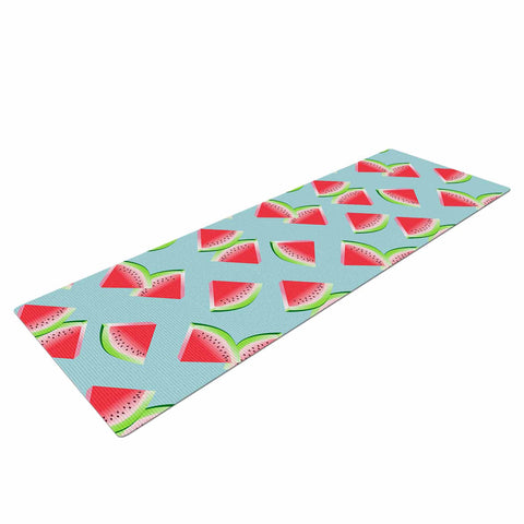 "afe images ""Watermelon Slices Pattern"" Red Blue Illustration Yoga Mat"