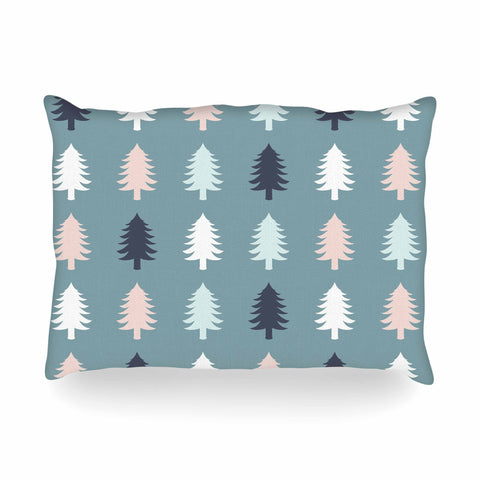 "afe images ""Christmas Tree Silhouettes"" Blue Pink Digital Oblong Pillow"