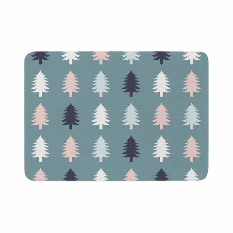 "afe images ""Christmas Tree Silhouettes"" Blue Pink Digital Memory Foam Bath Mat"