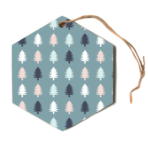 "afe images ""Christmas Tree Silhouettes"" Blue Pink Holiday Digital Illustration Hexagon Holiday Ornament"