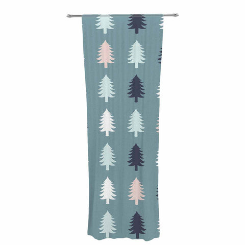 "afe images ""Christmas Tree Silhouettes"" Blue Pink Digital Decorative Sheer Curtain"