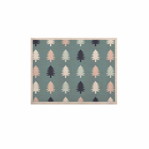 "afe images ""Christmas Tree Silhouettes"" Blue Pink Digital KESS Naturals Canvas (Frame not Included)"