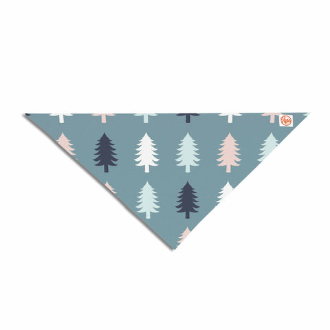 "afe images ""Christmas Tree Silhouettes"" Blue Pink Digital Pet Bandana"