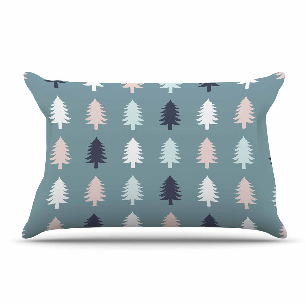 "afe images ""Christmas Tree Silhouettes"" Blue Pink Digital Pillow Sham"