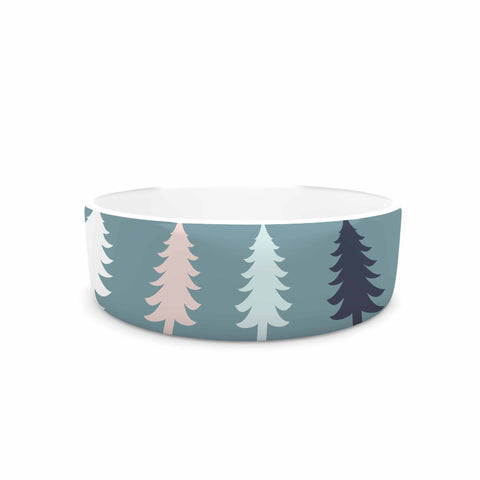"afe images ""Christmas Tree Silhouettes"" Blue Pink Digital Pet Bowl"