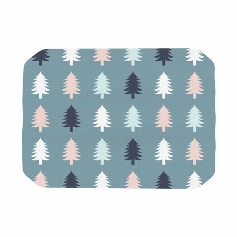 "afe images ""Christmas Tree Silhouettes"" Blue Pink Digital Place Mat"