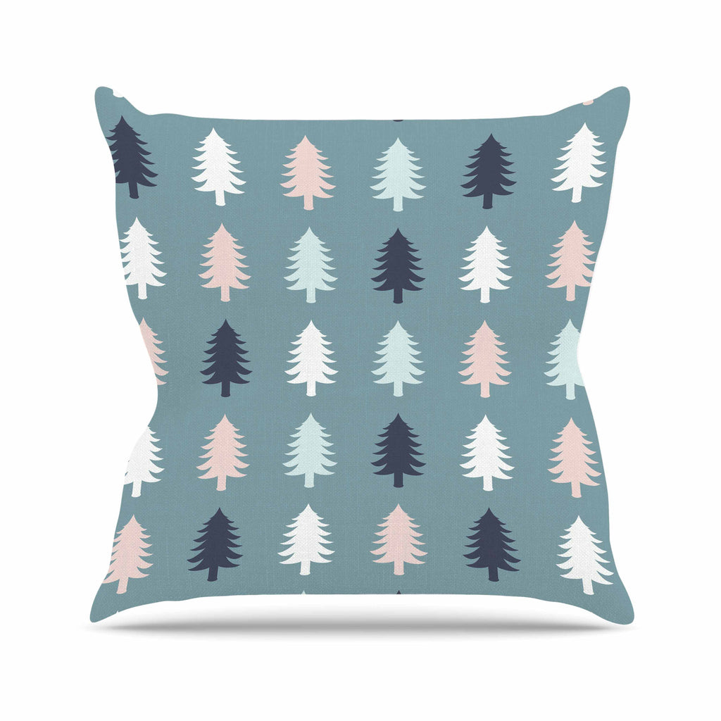 "afe images ""Christmas Tree Silhouettes"" Blue Pink Digital Outdoor Throw Pillow"
