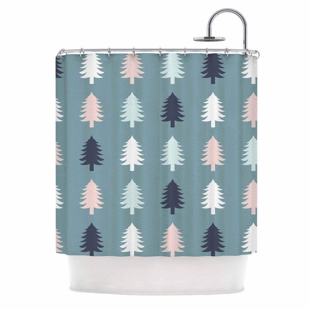 "afe images ""Christmas Tree Silhouettes"" Blue Pink Digital Shower Curtain"