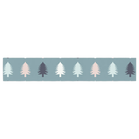 "afe images ""Christmas Tree Silhouettes"" Blue Pink Digital Table Runner"