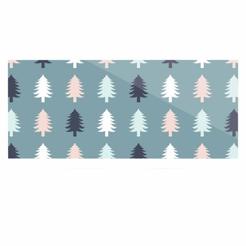 "afe images ""Christmas Tree Silhouettes"" Blue Pink Digital Luxe Rectangle Panel"