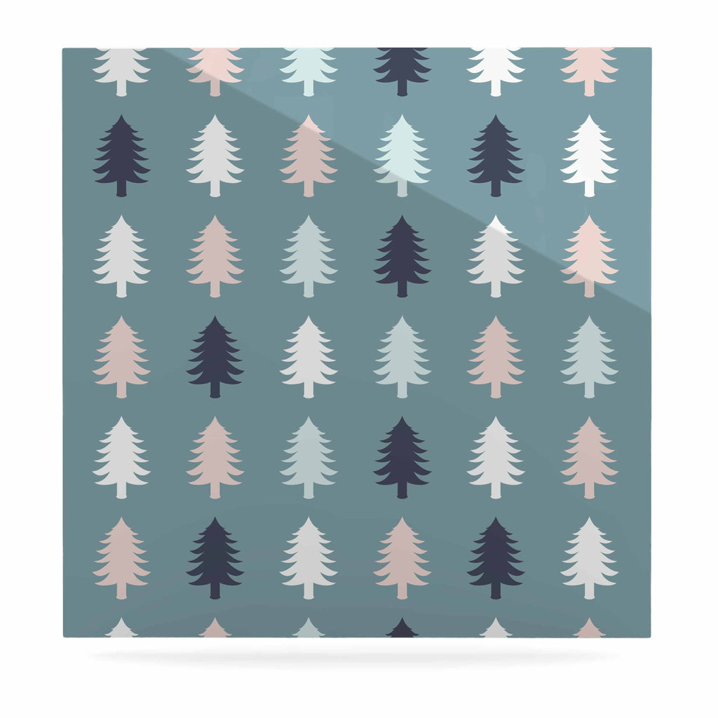"afe images ""Christmas Tree Silhouettes"" Blue Pink Digital Luxe Square Panel"