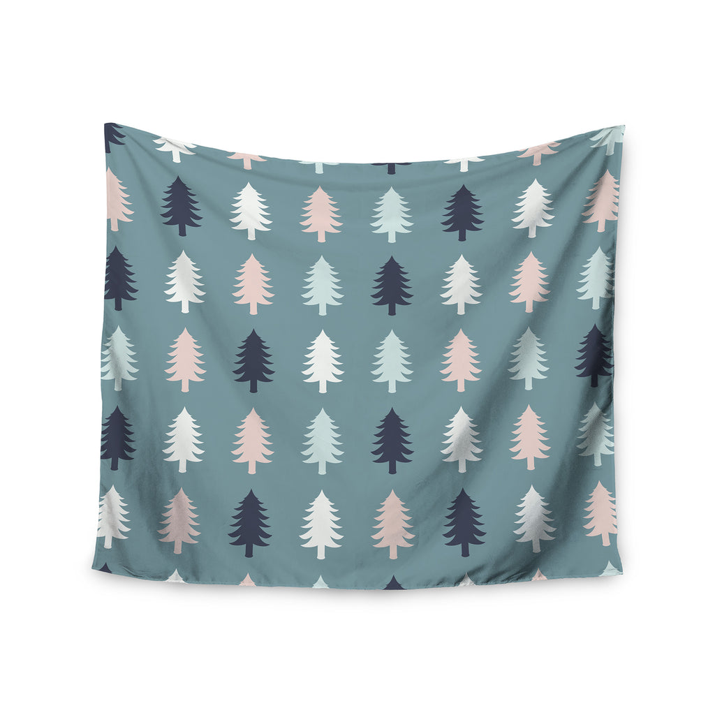 "afe images ""Christmas Tree Silhouettes"" Blue Pink Digital Wall Tapestry - KESS InHouse  - 1"