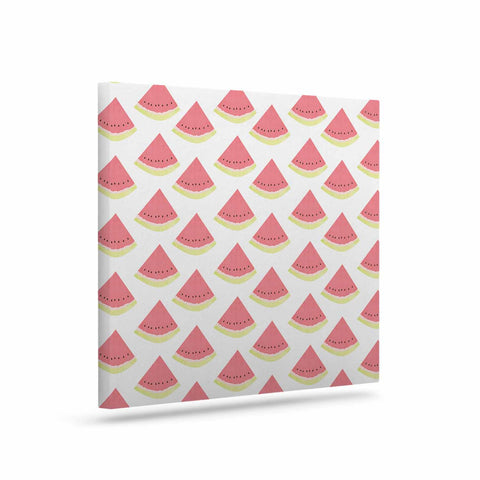 "afe images ""Watermelon Pattern 2"" Red White Illustration Canvas Art - KESS InHouse  - 1"