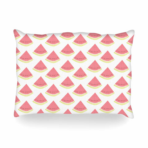 "afe images ""Watermelon Pattern 2"" Red White Illustration Oblong Pillow"