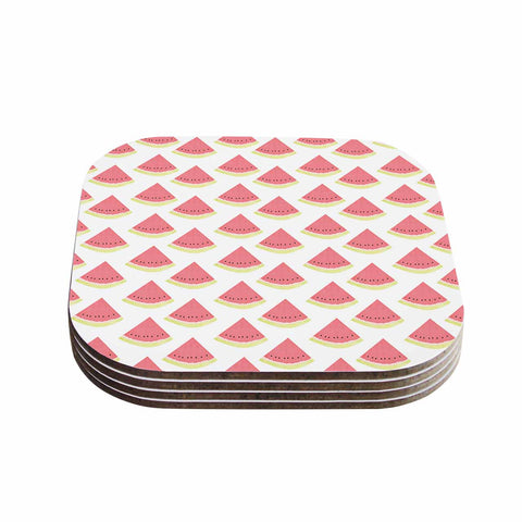 "afe images ""Watermelon Pattern 2"" Red White Illustration Coasters (Set of 4)"