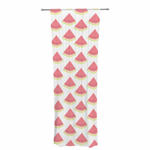 "afe images ""Watermelon Pattern 2"" Red White Illustration Decorative Sheer Curtain"