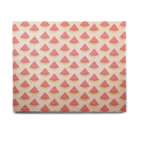 "afe images ""Watermelon Pattern 2"" Red White Illustration Birchwood Wall Art - KESS InHouse  - 1"