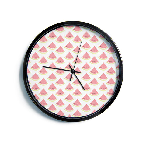 "AFE Images ""Watermelon Pattern 2"" Red White Pattern Food Illustration Digital Modern Wall Clock"