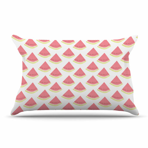 "afe images ""Watermelon Pattern 2"" Red White Illustration Pillow Sham"